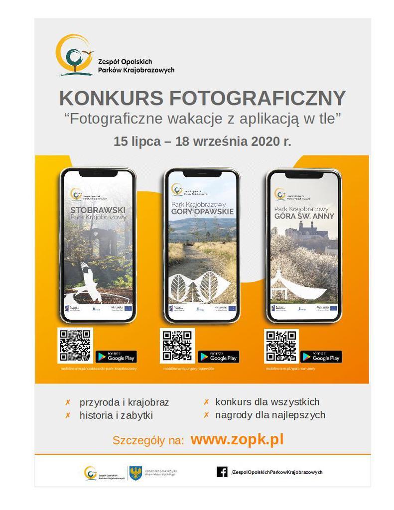 Plakat konkursu fotograficznego pn. Fotograficzne wakacje z aplikacją w tle 2020..jpeg