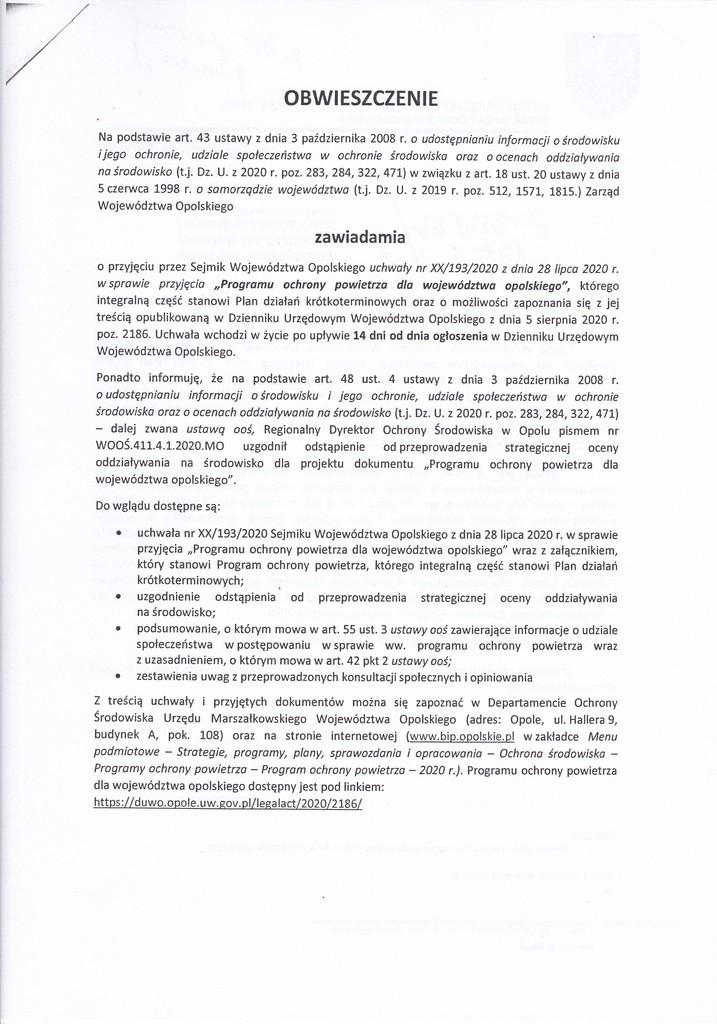 Obwieszczenie o przyjęciu przez Sejmik Województwa Opolskiego Programu Ochrony Powietrza dla Województwa Opolskiego.jpeg