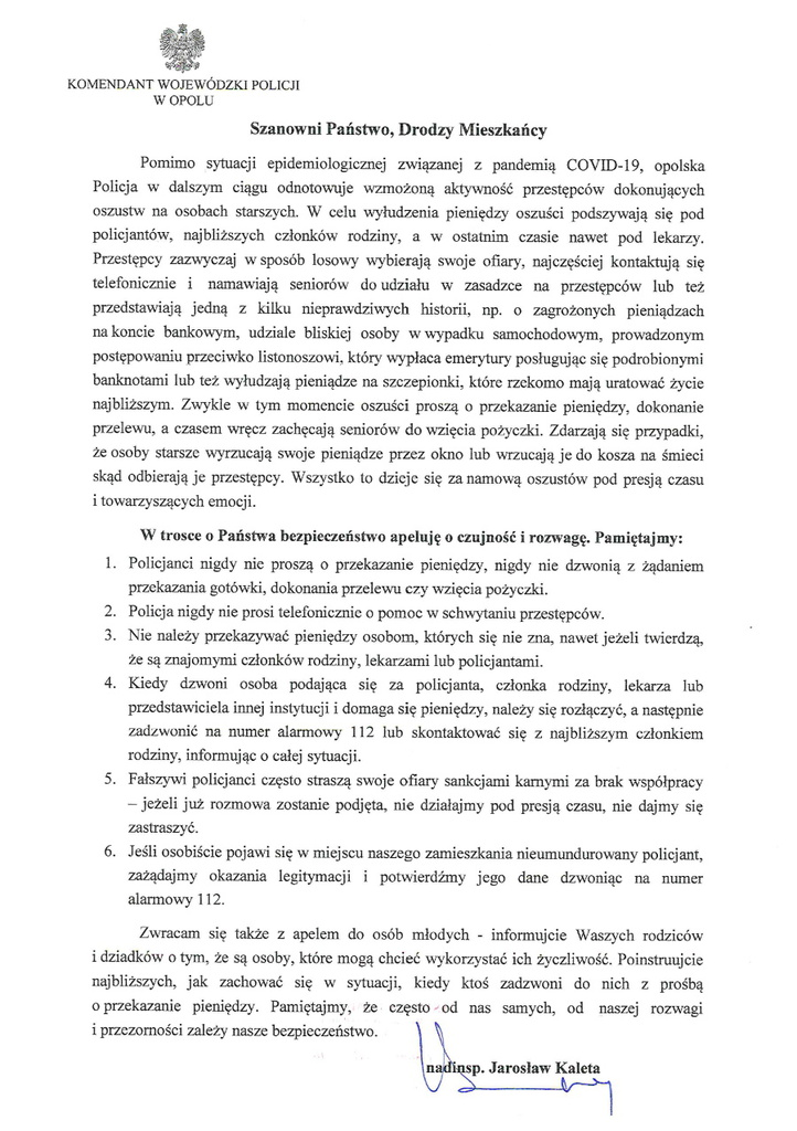 Komunikat Komendanta Wojewódzkiego Policji w Opolu.jpeg