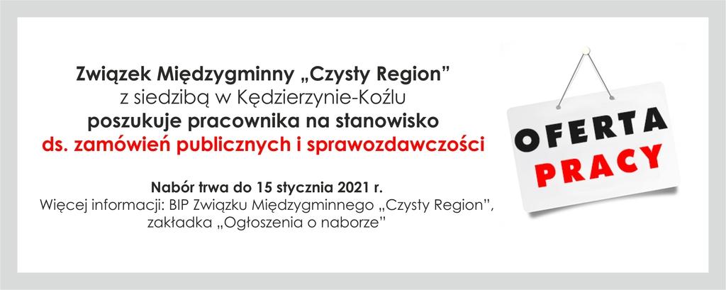 Komunikat Związku Międzygminnego Czysty Region - nabór na stanowisko pracy.jpeg