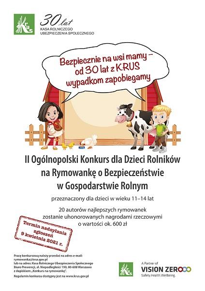 II Ogólnopolski Konkurs dla Dzieci na Rymowankę o Bezpieczeństwie w Gospodarstwie Rolnym plakat.jpeg