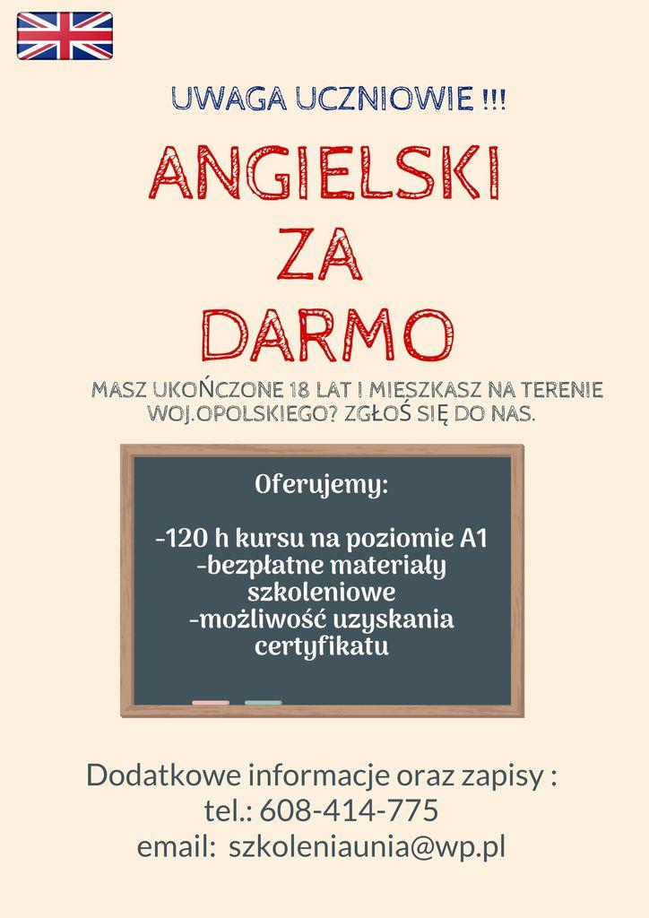 Plakat promujący darmowy kurs języka angielskiego.jpeg