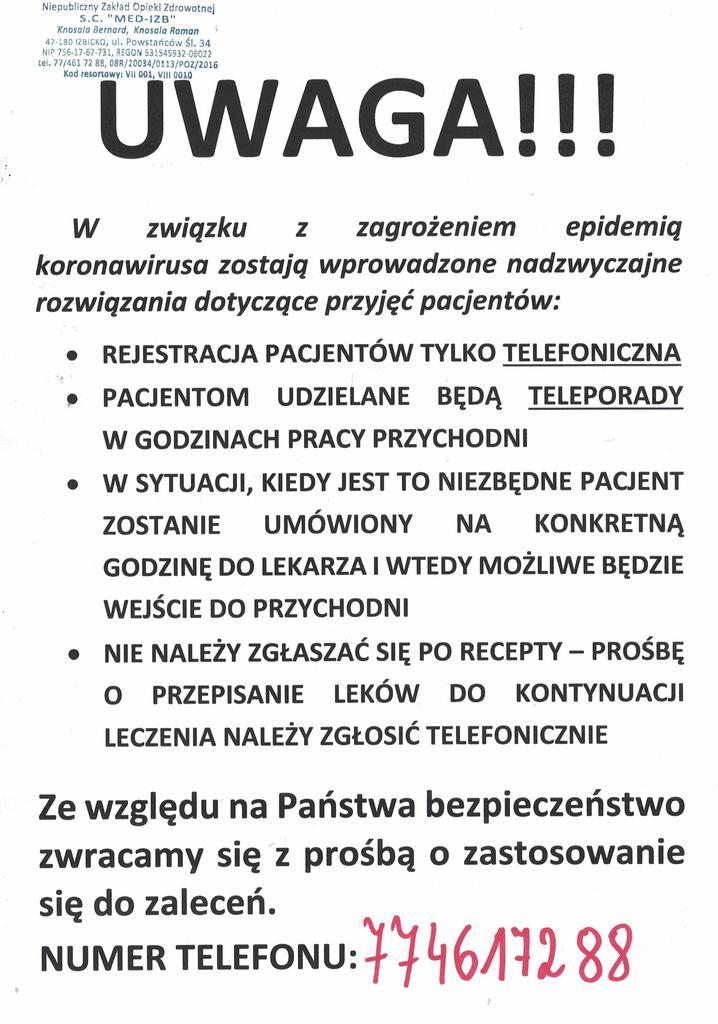 Komunikat Ośrodka Zdrowia w Izbicku.jpeg