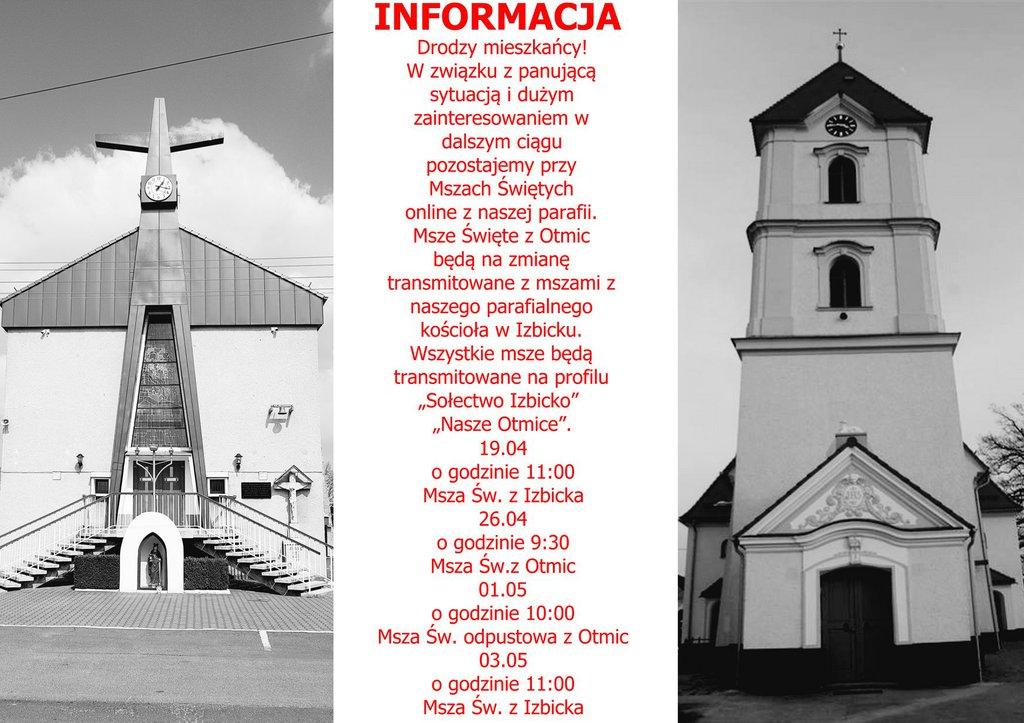 Informacja o transmisji Mszy Świętych - Izbicko, Otmice.jpeg